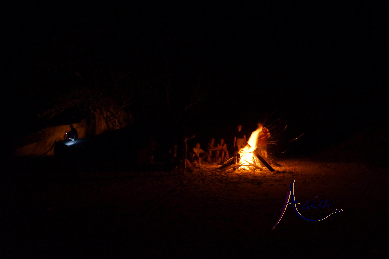 Bonfire on the beach, Mergui Archipelago, Myanmar.