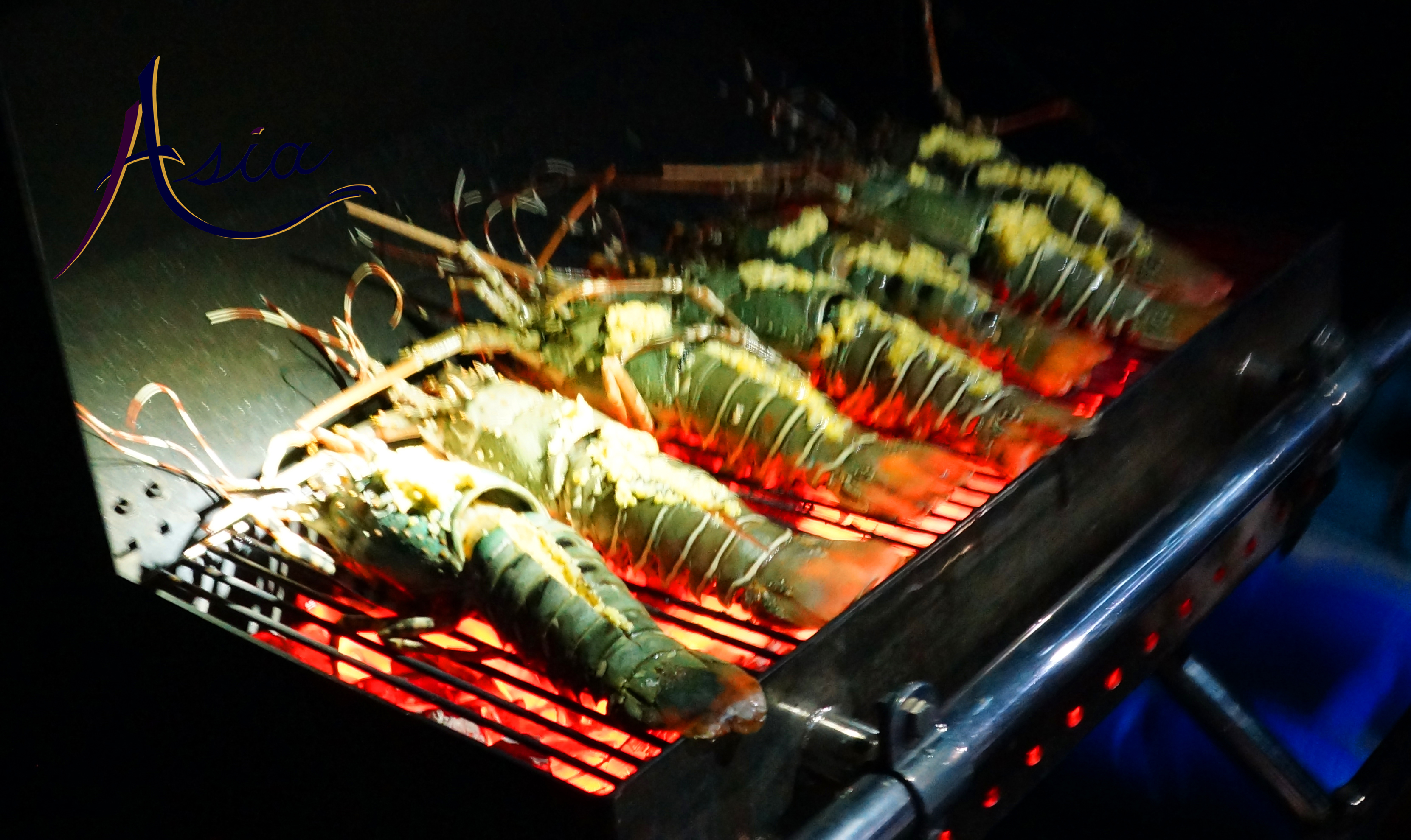BBQ crayfish for dinner - Sailing Yacht ASIA - 5 star yacht charters in the Mergui Archipelago Burma
