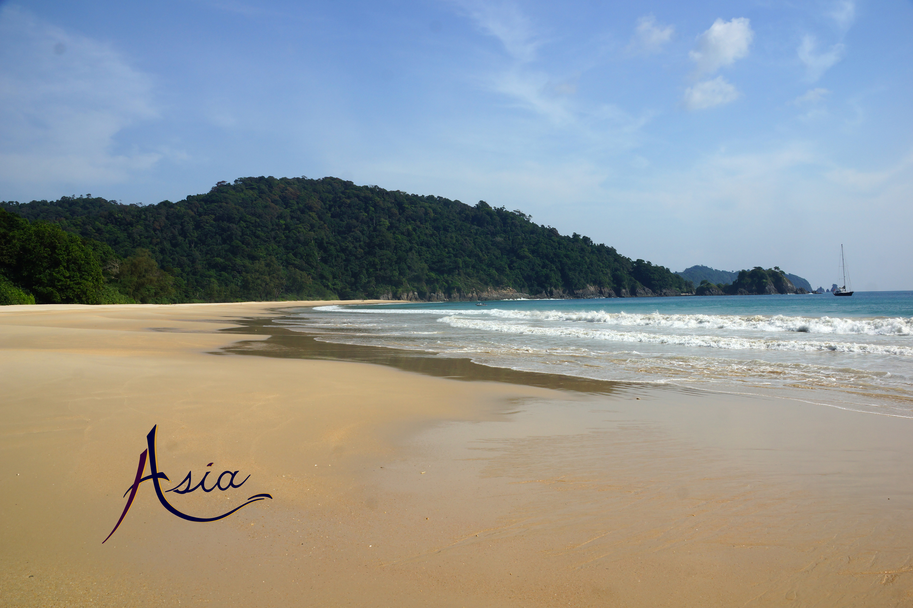 Miles of beautiful deserted beaches in Burma's Mergui Archipelago.